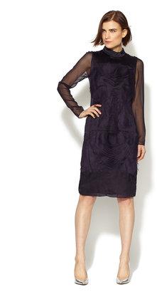 Vera Wang Silk Tulle Ruffle Front Sheer Sleeve Dress