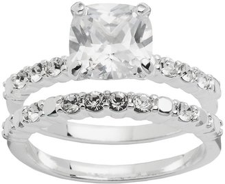 Silver Plated Cubic Zirconia & Crystal Ring Set