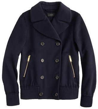 J.Crew Collection cashmere bomber peacoat