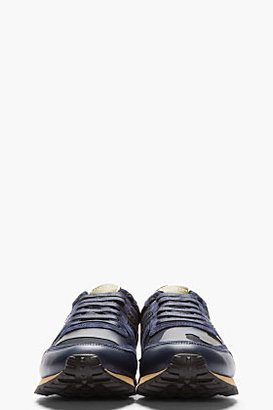 Valentino Navy Suede Leather-Trimmed Studded Sneakers