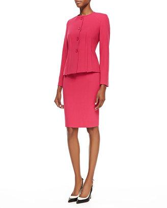 Albert Nipon Two-Piece Knit Skirt Suit, Fuchsia