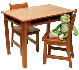 Bed Bath & Beyond Lipper Child's Rect. Table w/ Shelves & 2 Chairs - Pecan