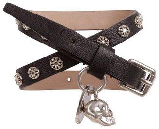 Alexander McQueen Flower Stud Leather Double Wrap Skull Bracelet