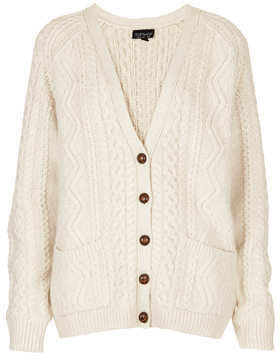 Topshop Knitted cable cardi in cream 70% acrylic,16% nylon,14% angora. machine washable.
