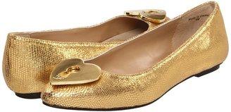 Diane von Furstenberg Malia (Gold Metallic Lizard Print) - Footwear