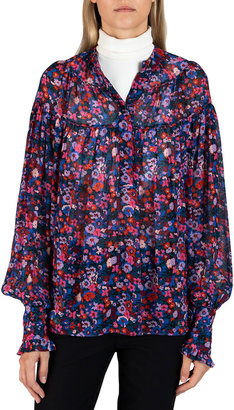 Derek Lam 10 Crosby Lou Floral Shirred Long-Sleeve Blouse