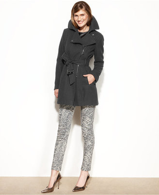 Kenneth Cole Reaction Wool-Blend Asymmetrical Belted Coat