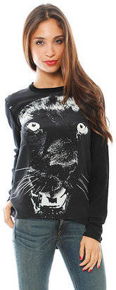 Torn By Ronny Kobo Jonsy Long Sleeve Panther Knit Tee in Black