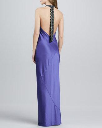 Zac Posen Beaded-Neck Halter Gown