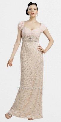 Sue Wong Cap Sleeved Long Column Beaded Evening Dresses
