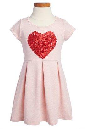 Design History Heart Appliqué Dress (Toddler Girls)