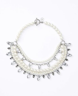 Marquis Crystal Pearlized Statement Necklace