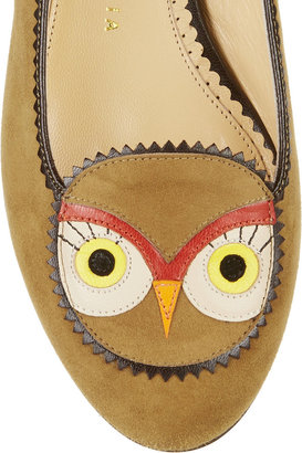 Charlotte Olympia Such A Hoot! Owl-appliquéd suede slippers
