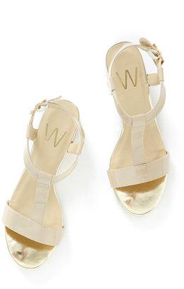 Wallis Cream Patent Block Heel Sandal