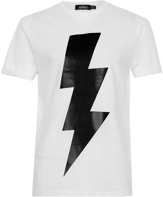 Topman White Leather Look Bolt T-Shirt