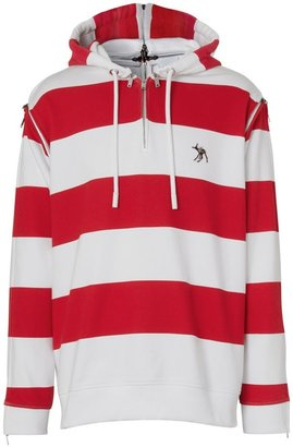 Burberry Zip Detail Striped Cotton Hoodie