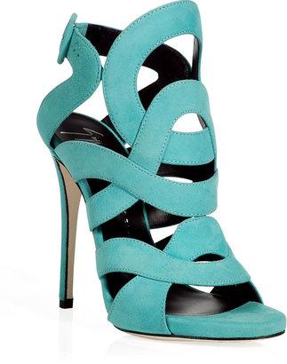 Giuseppe Zanotti Aqua Suede Swirl Sandals