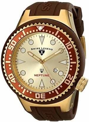 Swiss Legend Men's 21818D-YG-07-BRW Neptune Collection Yellow Ion-Plated Brown Rubber Watch