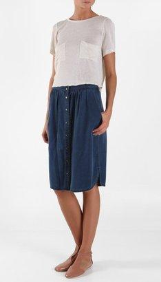 Tibi Washed Denim Skirt