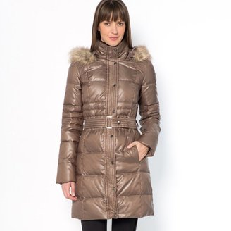 Laura Clement Long Down-Filled Water-Repellent Jacket with Hood