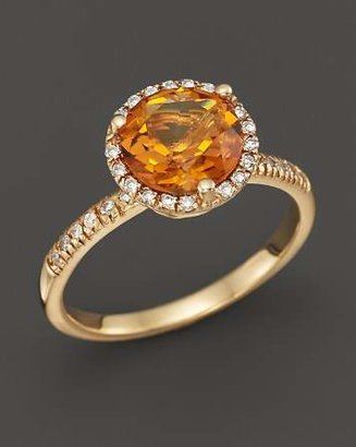 Bloomingdale's Citrine and Diamond Halo Ring in 14K Yellow Gold - 100% Exclusive