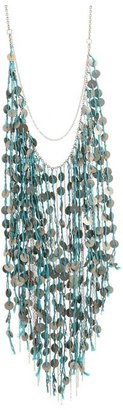 Chan Luu Coin Fringe Necklace With Blue Thread (Scuba Blue) - Jewelry