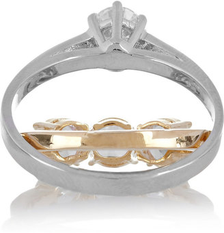 Maison Martin Margiela Gold and silver-tone glass double ring