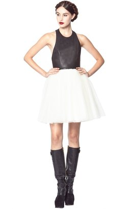 Alice + Olivia Ginnifer Leather Top T-Back Party Dress