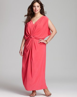 T-Bags Tbags Los Angeles Plus Maxi Dress with Ruched Tie Waist