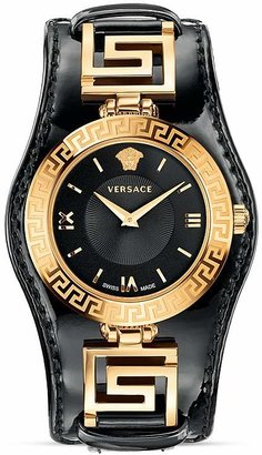Versace Signature Rose Gold & Black Dial Watch, 35mm $1,395 thestylecure.com