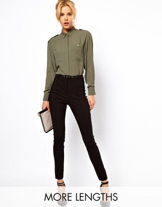 Asos High Waist Belted Trousers in Skinny Fit