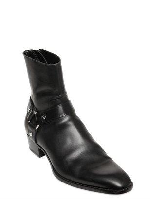 Saint Laurent Low Leather Motorcycle Boots