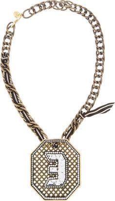 Lanvin Brass & Crystal Digit Necklace