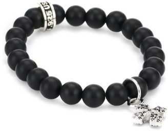 King Baby Cross Baby Pave Cubic Zirconia MB with Black Onyx Bead Bracelet $180 thestylecure.com