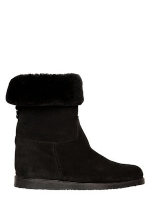 Salvatore Ferragamo 50mm My Ease 1 Suede Shearling Boots