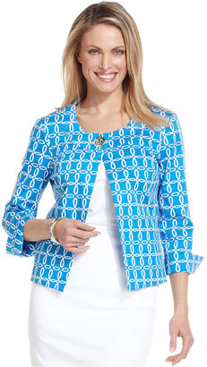 Charter Club Jacket, Three-Quarter-Sleeve Printed Swing Jacket