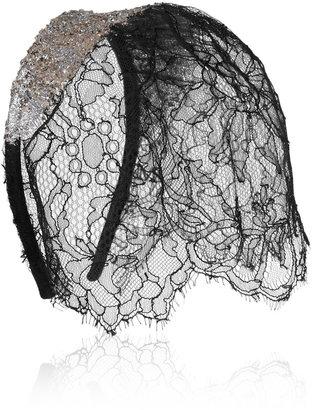 Maison Michel Niki glitter-finished lace veil headband