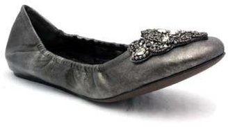 "Vera Wang Loriana"" Pewter Leather Jeweled Ballet"