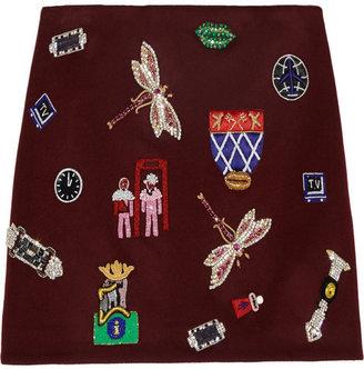 Mary Katrantzou Embellished wool mini skirt