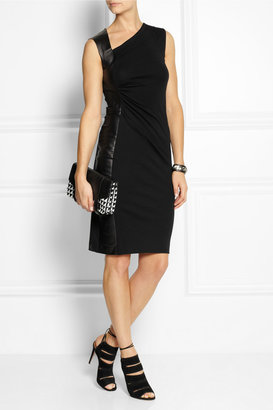 Joseph Abbey leather-paneled wool-jersey dress