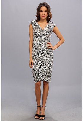 London Times Cap Sleeve V-Neck Side Ruched Tie Sheath