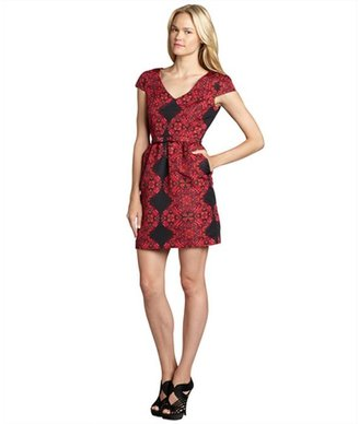 Taylor fuchsia cap sleeve digital print dress