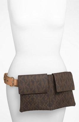 MICHAEL Michael Kors Perforated Belt Bag Chocolate/ Natural Small