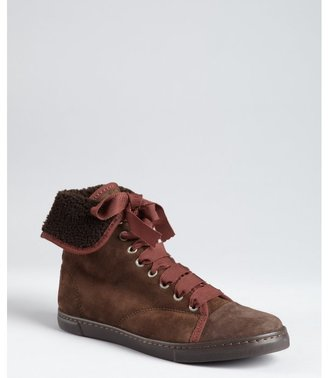 Lanvin brown suede fleece lined high top sneakers