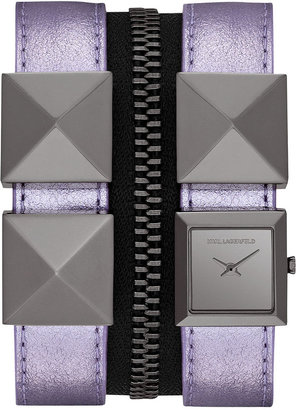 Karl Lagerfeld Watch, Unisex Gunmetal-Tone Stainless Steel Stud and Metallic Purple Leather Double Strap 18mm KL2010