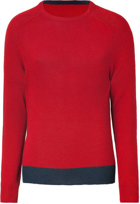 Marc by Marc Jacobs Dark Red/Navy Silk and Cashmere Pullover