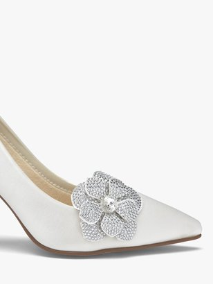 Rainbow Club Vela Diamante Flower Shoe Bows, Ivory