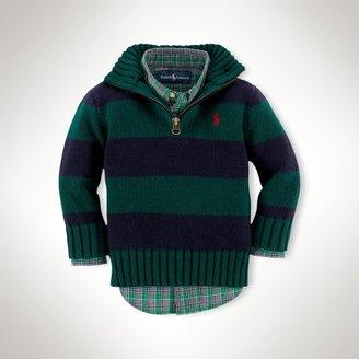 Striped Cotton Half-Zip