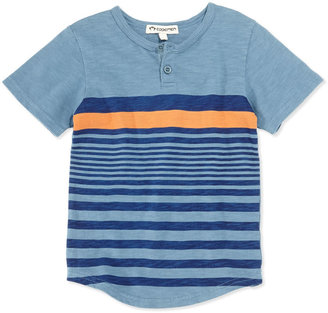 Appaman Striped Slub Henley, Blue, Boys' 2T-10