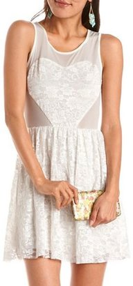 Charlotte Russe Lace Heart Mesh Top Skater Dress